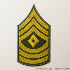 US ARMY 'FIRST SERGEANT' Rank Chevron Stripes of Iron-On Patches, NEW
