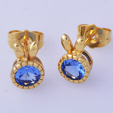Fashion jewelry cute sapphire Rabbit Ears type Yellow Gold Plated Stud Earrings