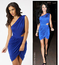 Lipsy Electric Blue Ruched Cut Out One Shoulder Size 12 Bodycon Dress Party Club