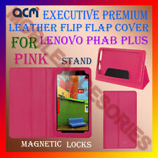 ACM-EXECUTIVE LEATHER FLIP CASE for LENOVO PHAB PLUS TAB COVER STAND NEW - PINK