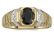 Mens Natural 7x5mm Oval Black Onyx and Diamond Ring 10K Yellow Gold