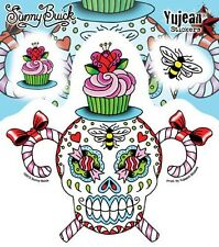 Day Of The Dead Sunny Buick Candy Sugar Skull Set Cupcake Sticker Decal Lasting