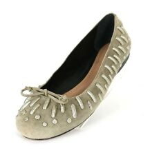ALAIA Taupe Suede Silver Metal Embellished Bow Detail Ballet Flats 40