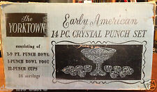 The Yorktown Early American 14 pc Punch Bowl Set Thatcher Glass Mfg. Co. Vintage