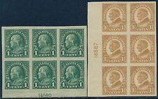#575-576 PLATE NO. BLOCKS OF 6 VF // XF OG 1¢ - HR, 1 1/2 - NH CV $125.00 BQ8051