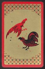 1 Single VINTAGE Swap/Playing Card BIRDS HENS COCKS ROOSTER CHOOKS Red/Gold