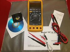 FLUKE 187 DIGITAL TRMS MULTIMETER NICE and LOADED with accessories