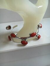 Red Coral & Silver CLUSTER STYLE Bangle Bracelet 60mm Gemstone Jewellery