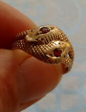 Gents Unusual Large 9ct Gold Double Snake Ring Set with Garnets