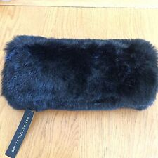 BRITTA COLLECTION BLACK HAND MUFF FAUX FUR MUFF HAND WARMER Rrp 25.00