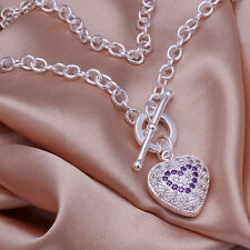 Sterling solid silver fashion jewelry Chain rhinestone heart Necklace XLSN277