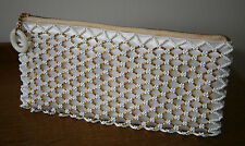 VINTAGE 1950s SMALL GOLD & WHITE BEAD EMBROIDERED MESH  WHITE SATIN BAG WEDDING