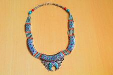 925 STERLING SILVER TIBETAN ETHNIC VINTAGE CORAL TURQUOISE LAPIS BEAUTY NECKLACE