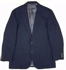 BROOKS Brothers 44L Blue LINEN Blazer NAVY Mens SIZE 2 Button LINED Vented MAN**