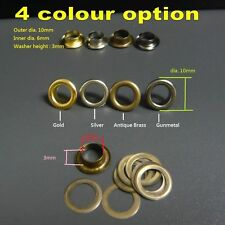 Brass Eyelets with Washer DIY/Repair Grommets + 1 SETTER & ANVIL Punch Hole Tool