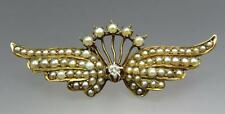 Gorgeous Antique Victorian 14K Ct Gold Seed Pearl Diamond Wings Brooch Pin