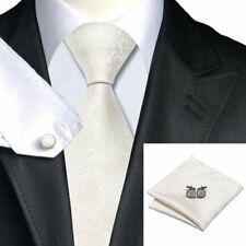 Mens Gold, White & Ivory Paisley 100% Silk Wedding Tie Handkerchief Cufflink Set