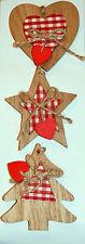 3 x Natale Tartan in Legno Albero Natale Porta Finestra DECORAZIONI ORNAMENTI Stringa