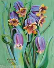 Painting 11x14 Canvas Lovely Purple Fritillaria Vivid Colors Home Decor signed