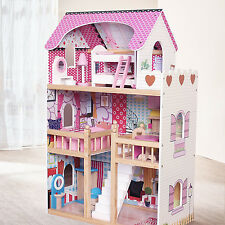 Moden Wooden Kids Dollhouse Large Dolls House +17PCS Furniture Barbie Doll
