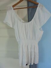 ADVANCE Sze XL (14) New~cap-sleeve tunic top blouse  NWT 100% Cotton White INDIA