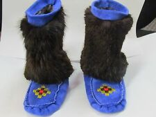 NATIVE AMERICAN BEADED BLUE MUKLUKS FUR 5 1/2 INCHES LONG  SHINNING BEADED VAMP