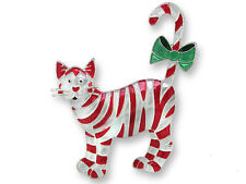 Zarah Zarlite Candy Cane CAT PIN Silver Plated Enamel Christmas - Gift Wrap Box