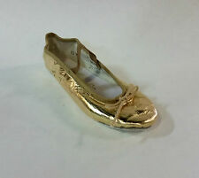 Theatricals 343 Child Size 2 Medium Gold Metallic Leather Full Sole Ballet Shoe