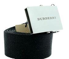 Burberry David Nylon Plaque Black Buckle Belt Size Large 100cm Unisex New
