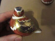 Royal Crown Derby Imari Chaffinch Bird Paperweight Gold Button Bone NR
