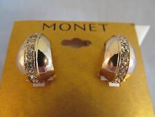 NWT MONET GOLD & CRYSTAL WIDE HOOP EARRINGS, Signed, Sparkly, Shiny