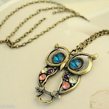Retro Women Rhinestone Owl Pendant Long Chain Charm Necklace Jewelry Gift