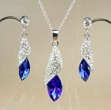 S3 Wedding Bridal Party Prom Deep Blue Rhinestone Crystal Necklace Earrings Set