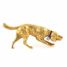 Antique Irish Setter Pointer Dog sapphire diamond 18k Gold pin brooch