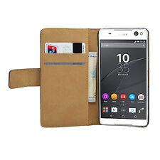 Billetera De Cuero Negro Flip Funda Protectora Bolsa Para Sony Xperia C5 Ultra (+2 Películas)