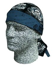 Black Grey Motor Head Madness Skull Bandanna Sweatband Durag Biker Head Wrap