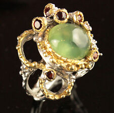 Top gem 12ct  Natural Prehnite 925 Sterling Silver Ring Size 8.25