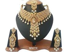 INDIAN BRIDAL & PARTY WEAR JEWELLERY SET CLEAR STONES GOLD NEW
