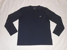 LACOSTE V NECK SHIRT Regular Fit Long Sleeve Men size 4 (M)