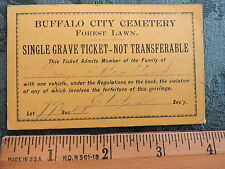 RARE 1880s Forest Lawn Cemetery BUFFALO New York NY Grave Ticket