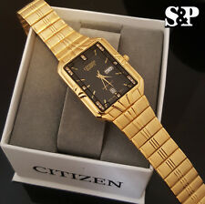 Men Luxury Citizen Day Date 24K Gold PT Stainless Steel Black Dial Analog Watch