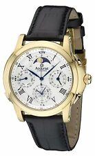 Accurist Grand Complication Mens Watch Silver Dial Black Strap GMT320W