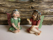 "2 Miniature Fairies Village Ornaments Figurines Set Two 1.25"" H. Resin New"