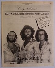 THE BEE GEES 1979 Poster Ad STAYIN' ALIVE critics awards