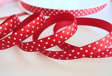 "5 yards Red/White Swiss Polka Dots Grosgrain 3/8"" Ribbon 9mm/Craft/Supply R79-01"
