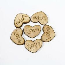 Sale! 50X Love Heart Wood Loose Beads charms Appointment Wedding Charm Decor
