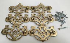 Lot Of 6 Decorative Brass Drawer Pulls Handles (RF336)