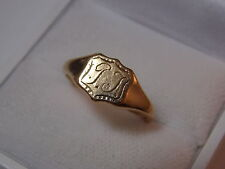 Vintage Deco Hallmarked JHW 9ct Yellow Gold Signet ring Monogram sz 8 Ring 5d 21