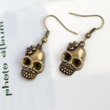 A Pair Gothic Skull Skeleton Earrings, Antique Bronze, Rocker & Punk
