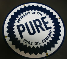 PURE round Oil Gasoline Porcelain Advertising sign